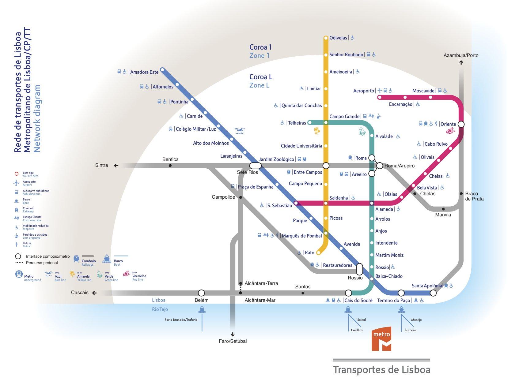 mapa de comboios de lisboa Transportes de Lisboa mapa de comboios de lisboa